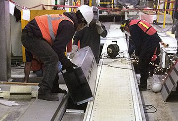 Automotive manufacturing plant conveyor installation