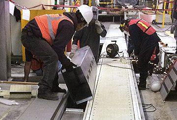 Automotive manufacturing plant conveyor installation